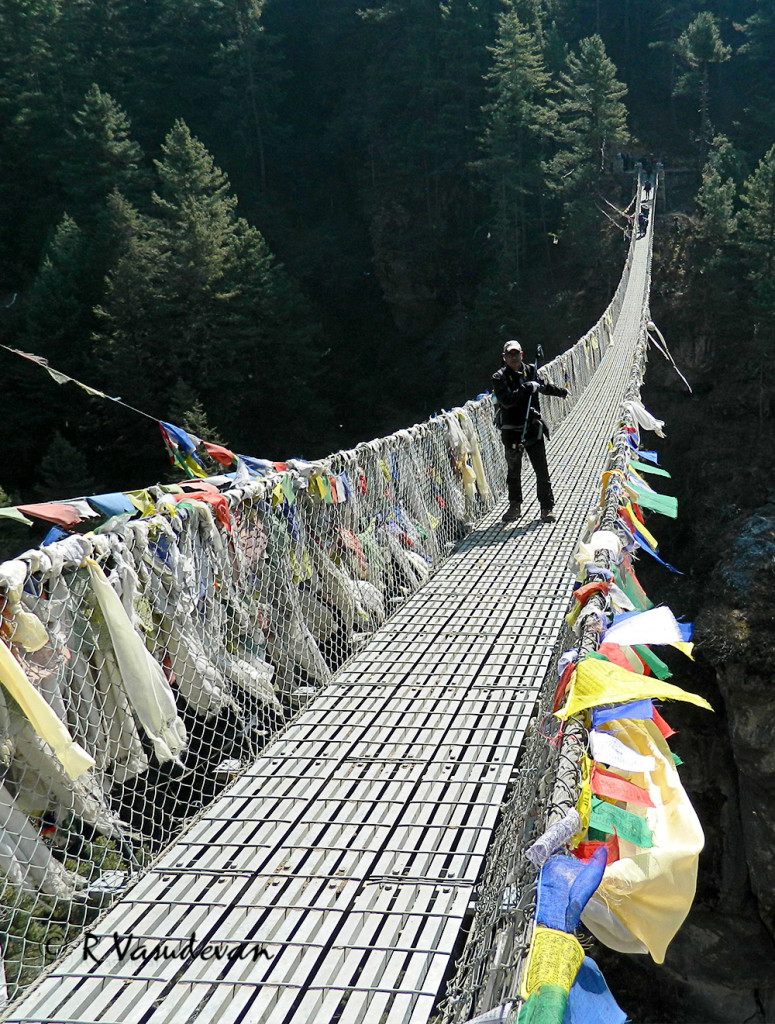 The most famous suspension bridge before the gruelling hike to Namche Bazar