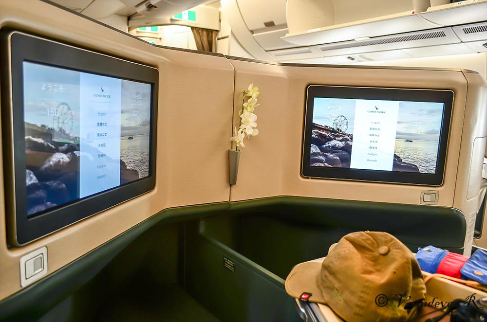 business class airbus A350-900 Cathay Pacific, inflight entertainment