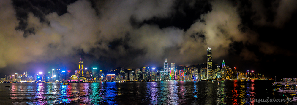 Harbour City, Hong Kong at night, a panorama