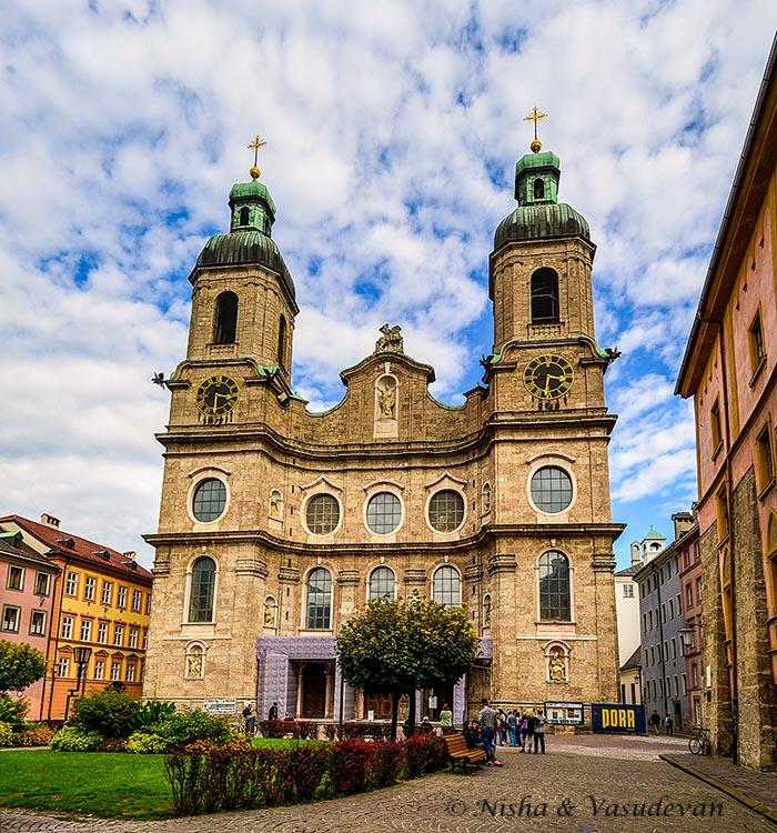 WSt James Cathedral at Domplatz, Innsbruck, Austria. Self guided walking tour of innsbruck