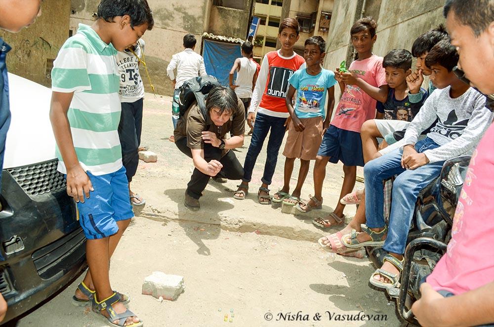 Stefan playing with slum kids
