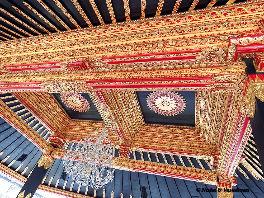Sultan palace ceiling. things to do in Yogyakarta