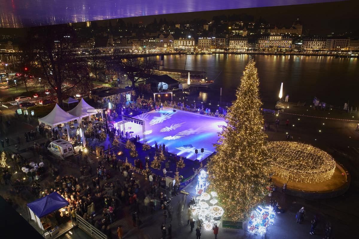 Christmas in Luzern Switzerland: Ice skating