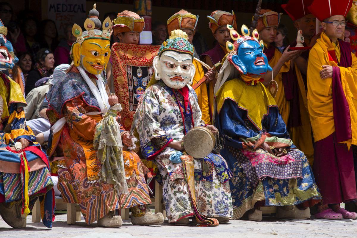 Tibetan lamas dressed for mask dance at Hemis Gompa, Ladakh India